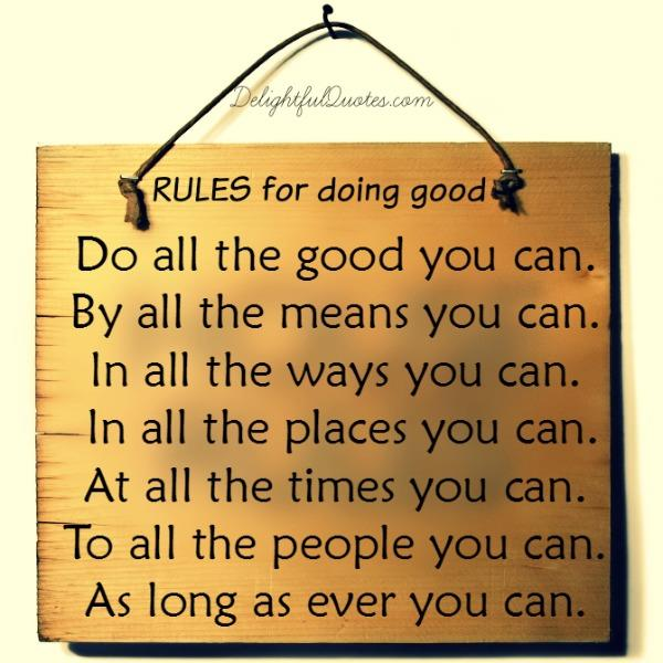 RULES for doing good